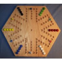 """NEW Wooden Aggravation Game Board 20"""" Hexagon Red Oak 6-Player 6-Hole Oiled"""