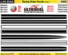 MG-6104-4 1/64 High Def UltraCal Racing Stripe Decals Style 4 Black White Stripe