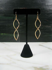 "PAIR VINTAGE SOLID 14K YELLOW GOLD 2 3/4"" SPIRAL DROP EARRINGS"