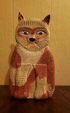 Vintage Walter & June Gottshall Carved Wood Folk Art Cat Doorstop