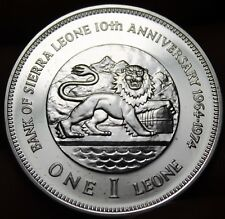 Sierra Leone 1974 One Leone Silver Proof~RARE~22,000 Minted~LION~Free Shipping