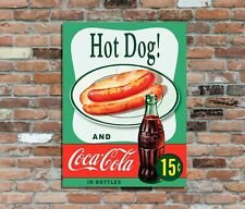 Hot Dog & Coke Retro Vintage Metal Advertising Wall Sign  (2)