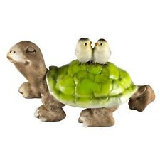 """Turtle Tortoise With Birds On Shell Figurine 4"""" Long Resin New In Box!"""