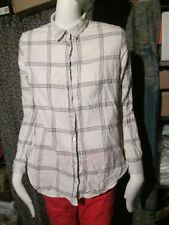H&M - CREAM/BLACK. LONG SLEEVED CHECKED Shirt SIZE EURO 32
