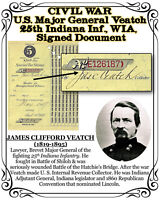 CIVIL WAR Major Gen. Veatch 25th Indiana Inf., WIA, Signed 1877 Tax Doc.