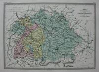 BAVARIA, WURTTEMBURG, GERMANY, original antique map, Malte-Brun, c.1882