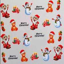 Xmas Nail Sticker Decal Water Transfer Christmas Tree Costume Party Nail Art #B8