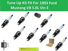 Fuel Filter Air FilterOil Filter, Spark Plugs Fit for 1993 Ford Mustang V8 5.0L