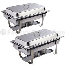 2 Pack of 9 Quart Rectangular Chafing Dish Stainless Steel Full Size New
