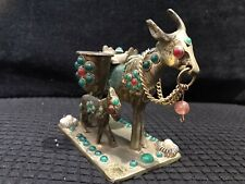 """More details for vintage jewelled brass donkey & foal carrying buckets ornament figurine 4"""" tall"""