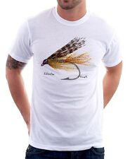 Fly fishing salmon trout fathers day Dad printed tshirt FN9465