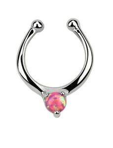 Simulated Opal Illusion Faux Clicker Septum Nose Ring in Sterling Silver 18g