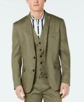 I.n.c. Men's Open Front Long Sleeve Slim-Fit Stretch Linen Blazer (Green, XL)