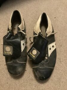 Vintage SPOT-BILT Black Leather Baseball  Football Shoes Metal Cleats Spikes