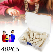 40Pcs Unfinished Wood Dolls Wooden Peg Little People Kid Arts Craft Painted Toys