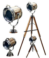 BEAUTIFUL SEARCH LIGHT SPOT LIGHT FLOOR LAMP SET OF TWO WITH WOODEN TRIPOD STAND