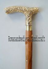 VINTAGE VICTORIAN STYLE BRASS BEAUTIFUL HANDLE WOODEN WALKING STICK CANE 36