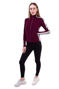 NORMA KAMALI Track Jacket Size XS Stretch Striped Sides Full Zip Funnel Neck