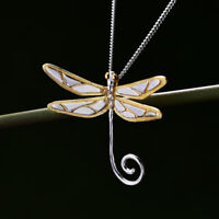 Vintage Solid 925 Sterling Silver Handmade Jewelry Dragonfly Pendant for Women