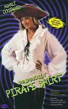 Ladies White Pirate Shirt Blouse Fancy Dress Costume Ruffles Top Lady UK 10-14