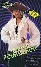 Onorevoli White Pirata Camicia Blusa FANCY DRESS COSTUME scatenano TOP LADY UK 10-14