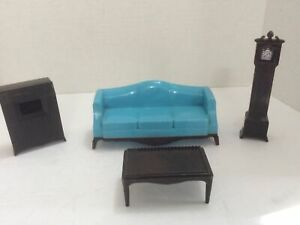 4 Pc Renwal  Miniature Doll House Furniture Living Room Set Couch, Radio, Clock