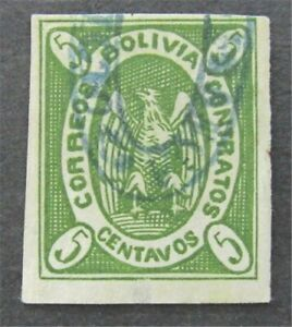 nystamps Bolivia Stamp # 1 Used $30   L30y294