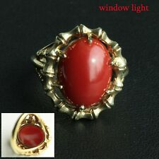 Vintage 14K gold Top Quality Large AKA Coral Oxblood Red Coral Ring
