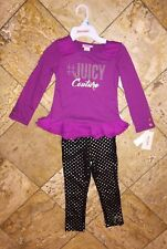 NWT Juicy Couture Purple Gold Top Polka Dot Leggings Outfit 2pc Set Little Girls