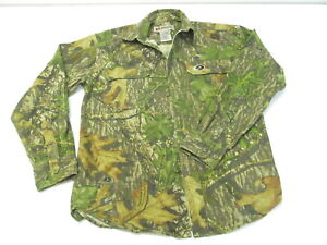 Russell Outdoors Camo Long Sleeve Button Down Mossy Oak Shirt Boys Medium