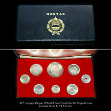 HUNGARY MAGYAR OFFICAL 1967 PROOF-LIKE COIN SET (8 COINS) 3 SILVER COINS + BOX