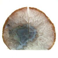 Grey Agate Bookend Set Large Polished Geode with Quartz Crystal 1601kg 16cm
