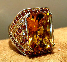 14K Yellow Gold Diamond Cocktail Ring with Natural Yellow Citrine size 6.