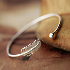 925 Silver Delicate Leaf Bangle Cuff Bracelet Charm Women For Party Gift Jewelry