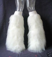UV WHITE FLUFFIES FLUFFY LEGWARMERS BOOTS COVERS FURRY