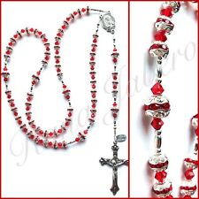 Red & Silver Prayer Catholic Rosary Beads made with crystals from Swarovski®