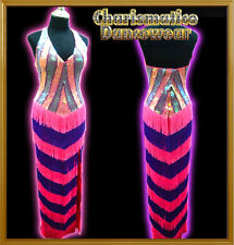 PINK PURPLE Drag Queen Salsa Latin FRINGE dance GOWN