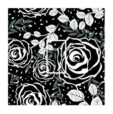 Black & White Modern Rose Floral Light Switch Vinyl Sticker Cover Skin Decal
