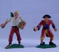2 Marx Warriors of World Pirates Factory Paint Germany Hard Plastic Figures