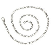Schmuck Halskette, Edelstahl, Figarokette, Halskette, Silber - Breite 3mm - L 5A