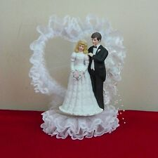 Wedding Cake Topper Ceramic Lace Seed Pearls Pink Roses Bride Groom