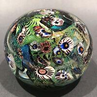 Signed Peter Vanderlaan Art Glass Paperweight Dichroic Millefiori Scramble