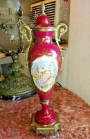 """Antique French Old Paris Sevres Style Porcelain and Bronze Urn. 15"""" H."""