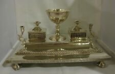 LARGE ANTIQUE VICTORIAN STERLING SILVER INK STAND SHEFFIELD 1869