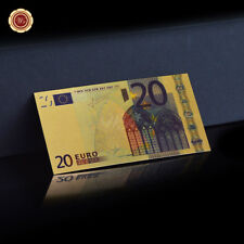 WR 24K Gold Europe 20 Euro Polymer Banknote World Money Collect Gifts for Dad