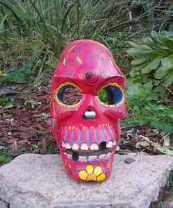 Red Sugar Skull Wood Wall Plaque Mask Dia de Los muertos Tattoo Day of Dead  12""