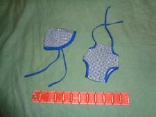 (3034) Vintage homemade Doll hat and romper sunsuit blue gingham