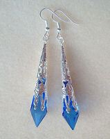Dark Blue Faceted Teardrop Silver Filigree Drop Earrings in Gift Bag