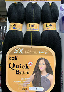 """KALI Pre Stretched Quick Braid 3x Bundle Itch Free Antibacterial Hot Water 26"""""""