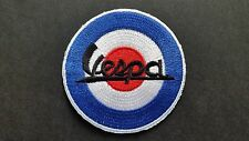 Embroidered Yellow Border Patch VESPA FONT Shoulder Flash Iron or Sew On